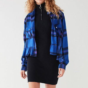 UO BDG Blue Plaid Ruffle Peplum Flannel Shirt
